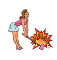 a woman with hammer breaks prices the buyer vector image vector image