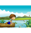 A young boy watching the fishes vector image vector image