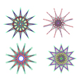 Abstract snowflake flowers of various shapes vector image vector image