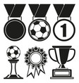 black and white 6 elements award silhouette set vector image