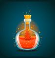 bottle of magic elixir with flame vector image vector image