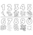 cartoon numbers set with animals color book vector image vector image