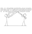 cartoon two businessmen holding pencil and vector image