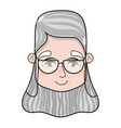 contour old woman face with hairstyle and glasses vector image vector image