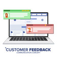 customer review on laptop speech bubbles vector image vector image