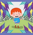 cute boy at forest vector image
