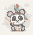 cute panda with feathers vector image