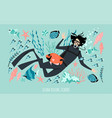 diving school banner template with a diver girl vector image