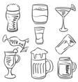 doodle of drink hand draw collection vector image vector image