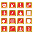 gmo icons set red vector image vector image