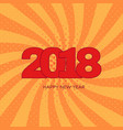 happy new year 2018 label on orange background vector image