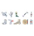 human bones icon set cartoon style vector image vector image
