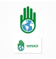 logo combination of a hand and earth vector image