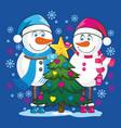 lovers snowmen vector image vector image
