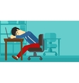 Man sleeping on workplace vector image vector image