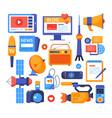 mass media - set flat design style elements vector image