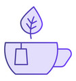mug with leaves flat icon cup of tea violet icons vector image vector image