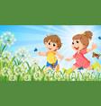 nature scene background with happy children