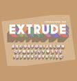 original retro 3d display font design alphabet vector image vector image