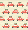 pattern red car with christmas tree on roof vector image vector image