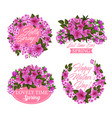 pink flower wreath icon for spring holiday design vector image vector image