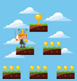 pixel game knight trophy levels sky clouds vector image vector image
