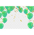 poster with shiny green balloons on white vector image