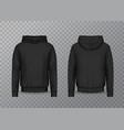 realistic men hoodie or black 3d hoody sweatshirt vector image vector image