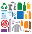 recycling and various waste color icons vector image vector image