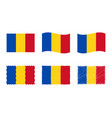 romania flag set official colors and proportion vector image