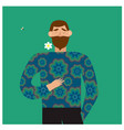 romantic concept bearded man holding a flower in vector image vector image
