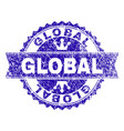 scratched textured global stamp seal with ribbon vector image vector image