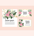 set cards with roses and flowers plants with vector image vector image
