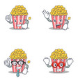 set of popcorn character with proud okay vector image vector image