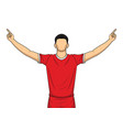 soccer player on red uniform happy celebration vector image