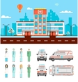 Street with hospital vector image vector image