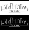 tel aviv skyline linear style editable file vector image vector image