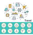 travel banner in flat style outline icons vector image