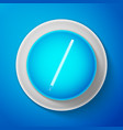 white pencil with eraser icon on blue background vector image