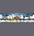 winter suburb town view snow on houses vector image