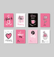 woman day postcards collection creative hand drawn vector image