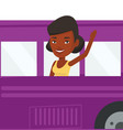 woman waving hand from bus window vector image vector image