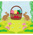 Greeting Card with Easter rabbits and basket with vector image