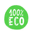 100 percent eco food green sign vector image vector image