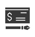 bank check and ink pen icon and financial
