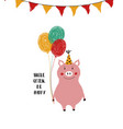 birthday card with smiling pig vector image vector image