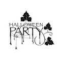 black lettering halloween party on white backdrop vector image vector image