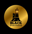 black medieval castle silhouette fortress label vector image