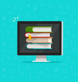 books stack on computer screen vector image vector image