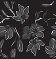 botanical dark summer orchid black white print vector image vector image